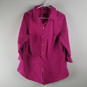 Talbots Top Sz 16 XL Pink Button up Blouse Wrinkle